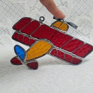 Vintage Stained Glass Biplane Airplane Suncatcher